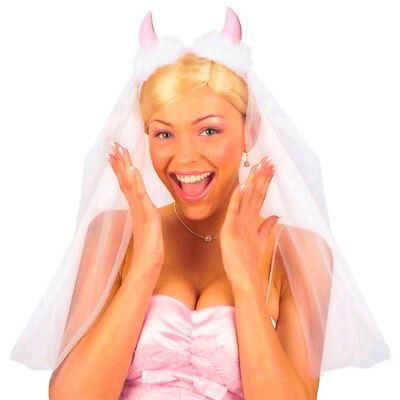 BRAUTSCHLEIER MIT HÖRNER JGA # Schleier Haarreif Bachelorette Braut Kostüm - Kostüm Mit Hörner