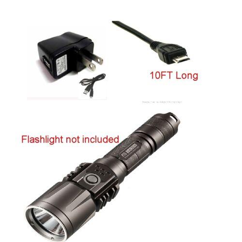 10Ft USB Charger SET For Tactical Flashligh & Flashlight Taser Combo 10 ft Long