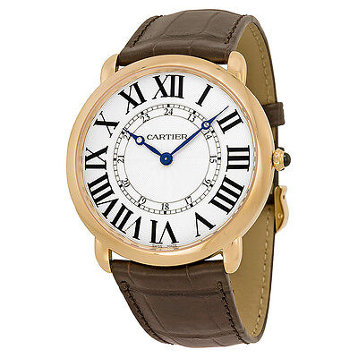 Cartier Ronde Louis Silver Dial 18k Rose Gold Brown Leather Automatic Mens