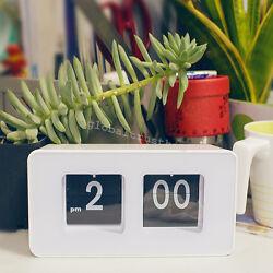 1x Stylish Modern Retro Auto Flip Clock Desk Table File Down Page Clocks Useful