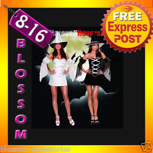 E39-Ladies-Reversible-Witch-Halloween-Fancy-Dress-Up-Costume-Outfit-Hat