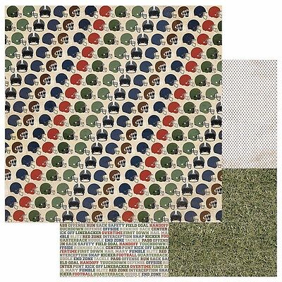 2 Sheets Photo Play END ZONE Football 12x12 Scrapbook Paper - Tailgate