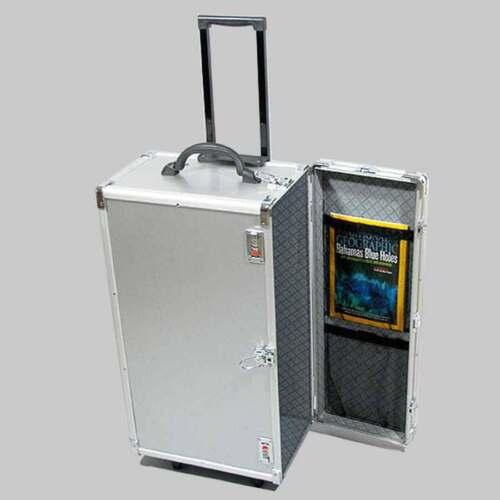 "Aluminum Jewelry Carrying Case w Wheels Combo Lock Box 16 3/8"" x 9 3/8"" x 26""H"