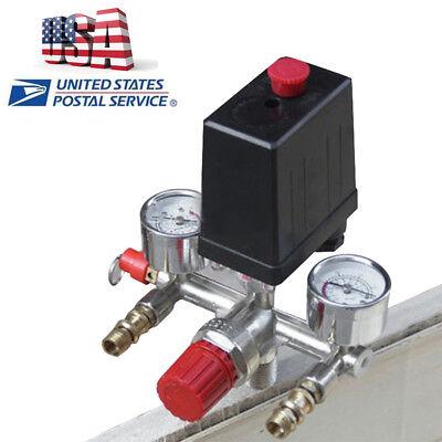 Max 125psi Air Compressor Pressure Switch Control Valve Manifold Regulator Gauge