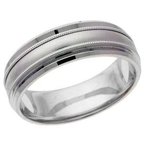 platinum 14k 10k silver white gold wedding band ring satin