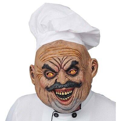BÖSER KOCH LATEX MASKE & MÜTZE # Halloween Karneval Mörder Killer Chef Gag 03308 ()