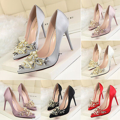 Women New Elegant High Heels Pearl Crystal Pointed Toe Shoes Satin Stiletto Pump