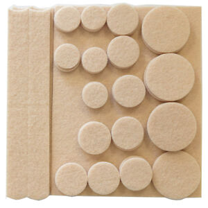 ANTI SKID FURNITURE PADS PROTECTOR FEET RUBBER ROUND FELT - 38 PCE SET