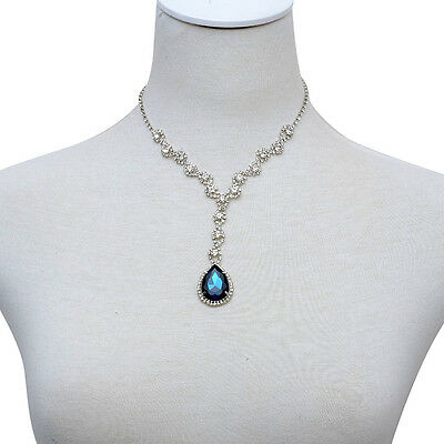 - ROYAL BLUE SAPPHIRE SIMULATE AUSTRIAN CRYSTAL ACCENT DESIGNER INSPIRED NECKLACE