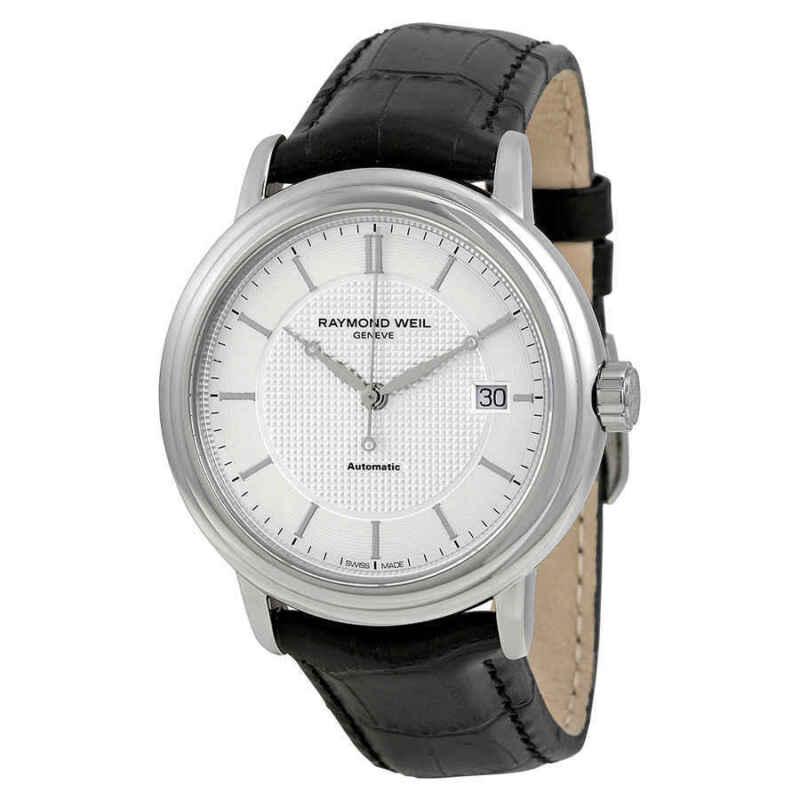 Raymond Weil Maestro Automatic Silver Dial Black Leather Men Watch