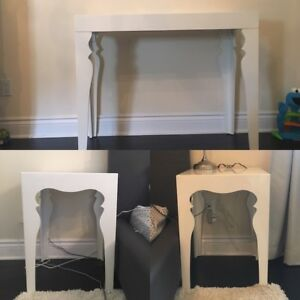 white lacquer makeup table and side tables