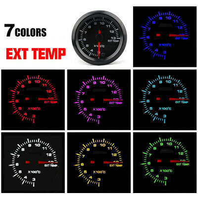 "2""52mm 7LED Color Autos Exhaust Gas Temp Gauge EGT Temperature Meter With Sensor"