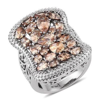 DIAMOND CHAMPAGNE SIMULATED DIAMOND STEEL HYPOALLERGENIC STATEMENT RING 5 Champagne Diamond Simulated Ring