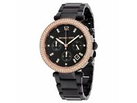 Michael Kors Brand New with Tags & Box Women's Ladies Parker Chronograph Crystal Black Watch MK5885