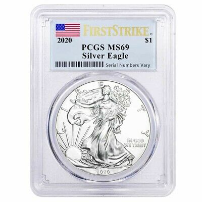 2020 1 oz Silver American Eagle $1 Coin PCGS MS 69 First Strike (Flag Label)