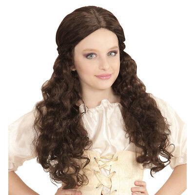 BRAUNE MITTELALTER PERÜCKE KINDER Mittelalter Prinzessin Kostüm Zubehör # (Braune Perücke Prinzessin)