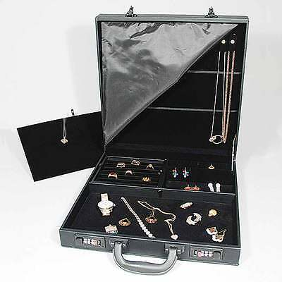 Black Jewelry Attache Carrying Case W Combo Lock 14 78 X 14 78 X 3 12h