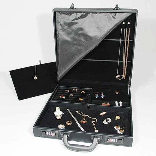 "Black Jewelry Attache Carrying Case w Combo Lock 14 7/8"" x 14 7/8"" x 3 1/2""H"