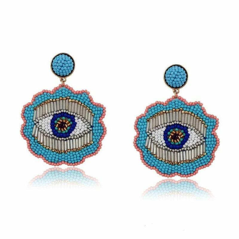 Light Blue Evil Eye Stud Earrings