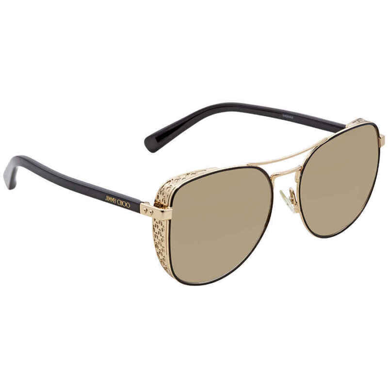 Jimmy Choo Aviator Gold/Black Ladies 58mm Sunglasses SHEENA/S 58JL 58