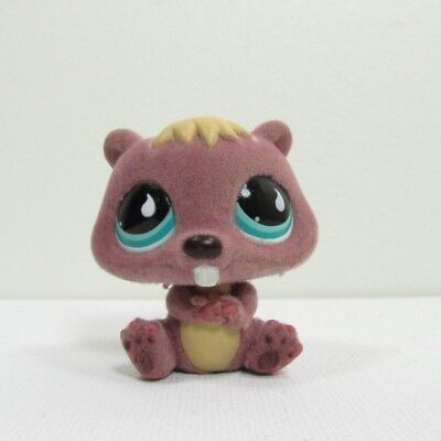 (LPS Littlest Pet Shop #810 Fuzzy Mauve Beaver Hasbro Toys for Girls Genuine Real)