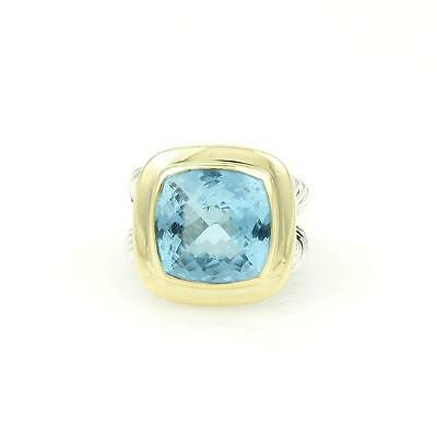 David Yurman 925 Silver 18k Yellow Gold Blue Topaz Cable Wire Cocktail Ring