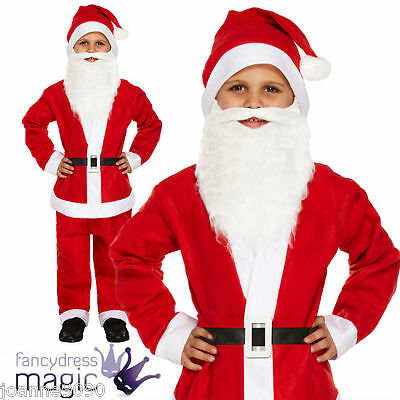 Childs Boys Father Christmas Fancy Dress Santa Suit Costume with Beard All Sizes - Boys Santa Suit