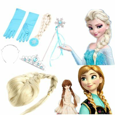 Frozen Princess Elsa Anna Gloves Tiara Crown Braid Wig Hair Wand Kid CV - Anna Crown Frozen
