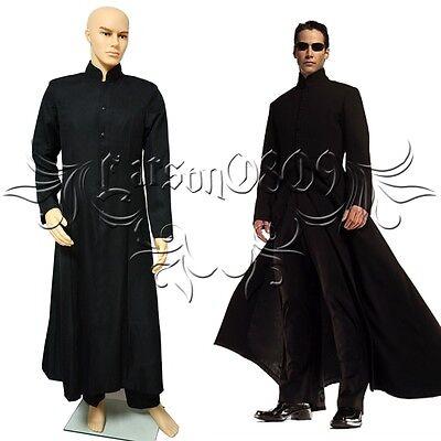 Hot Film The Matrix Neo cosplay costume Black coat + pant  custom made any size