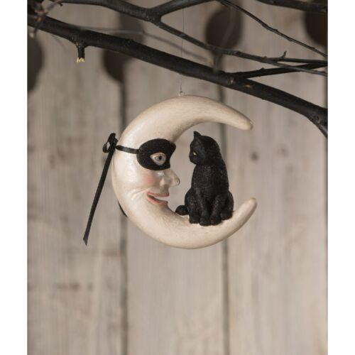 Bethany Lowe Hallow's Eve Black Cat on Moon Retro Vntg Halloween Decor Ornament