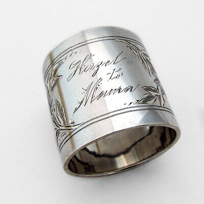 Bright Cut Floral Napkin Ring Gorham Sterling Silver 1888 Mono