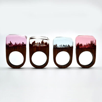 Women's Ring Wood Landscape Handmade Cocktail Ring Fashion Jewelry Crystal (Wood Womens Ring)