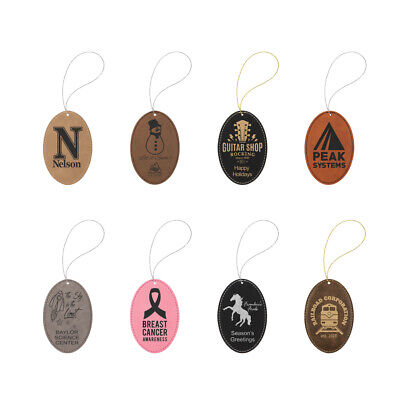 Personalized Leatherette Ornaments - Christmas - Ovals ()