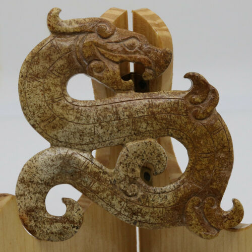 Chinese Oriental culture carve bronze jade coil beast dragon amulet pendant D305