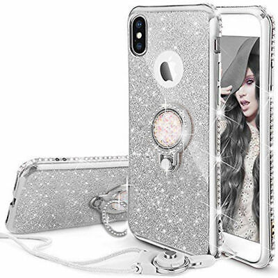 For iPhone 7 Plus Case 11 XR 8 6s XS Max Glitter Diamond Ring Stand Phone Cover