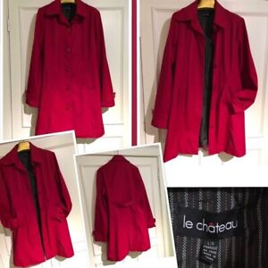 Gorgeous size large rich red Le Chateau trench coat
