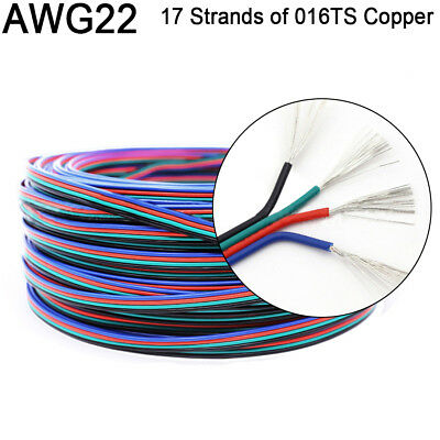 22awg 0.32mm 4 Wire Parallel Led Extension Cable For Color Change Rgb Led Strip