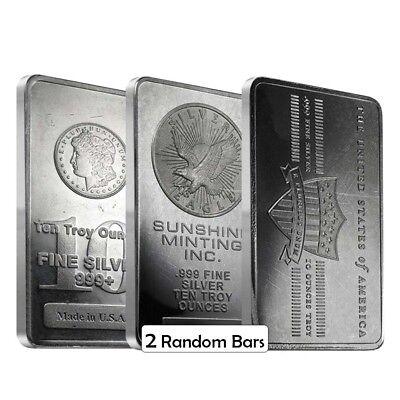 LOT OF 2 - 10 OZ GENERIC SILVER BAR .999 FINE