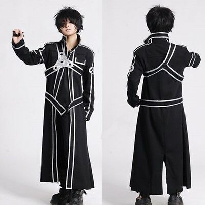 HOT Sword Art Online Kirito Kazuto Kirigaya Cosplay Black Any Size - Costumes Online