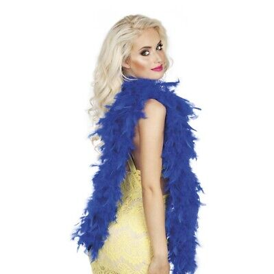 BLAUE FEDERBOA Karneval Charleston Federschlange Boa GoGo Kostüm Show Deko 52703 ()