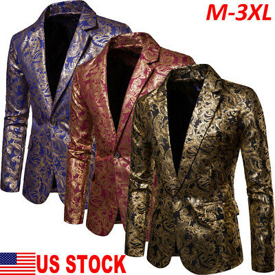 Mens Sequin Blazer (Mens Bridegroom Suit Sequins Show Blazer Lapel Coat Slim Jacket Wedding)