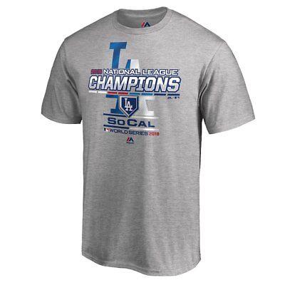 National League Champions Locker Room - LA Dodgers Men's MLB 2018 National League Champions Locker Room Tee - Gray