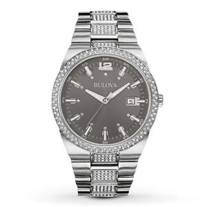 Bulova Men's 96B221 Crystal Accents Gray Dial Silver Tone 43mm Watch