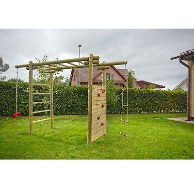 Klettergerüst Spielgerüst Holz mit Kletterwand Tellerschaukel Gartenpirat GP7086