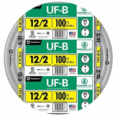 100 Roll 12-2 Awg Ufb Gauge Outdoor Burial Electrical Feeder Copper Wire Cable