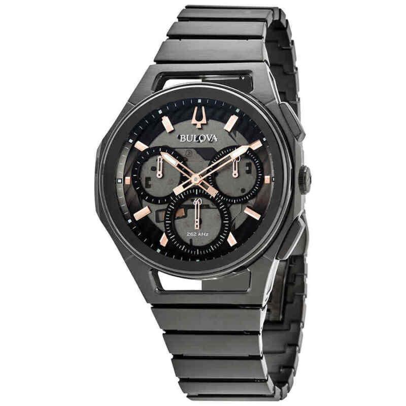 Bulova-CURV-Chronograph-Quartz-Black-Dial-Men-Watch-98A207