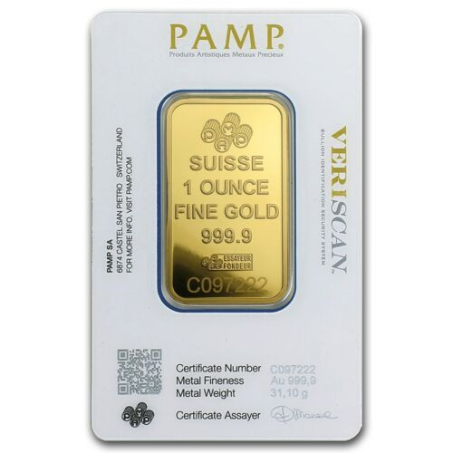1 oz Gold Bar PAMP Suisse Lady Fortuna Veriscan (In Assay)