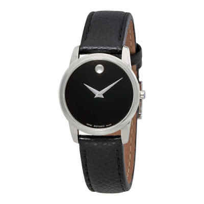Movado Museum Classic Black Dial Black Leather Ladies Watch 0607015