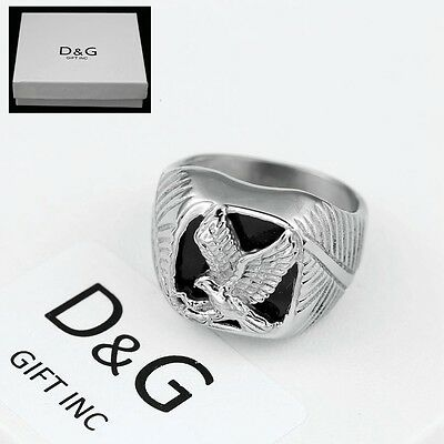 DG Men's Silver Stainless-Steel Black Onyx EAGLE Ring Size 8 9 10,11,12,13 + Box Onyx Eagle Ring