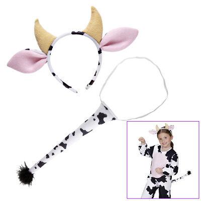 KUH DRESS- UP SET KINDER Kuh Kostüm Hörner Ohren Schwanz Karneval Fasching  1161
